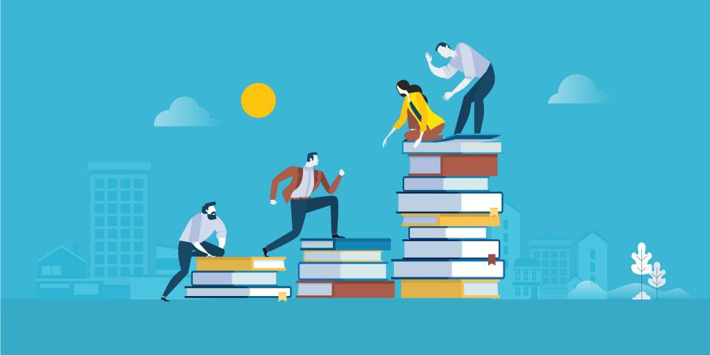 本の階段を登る男のイラスト