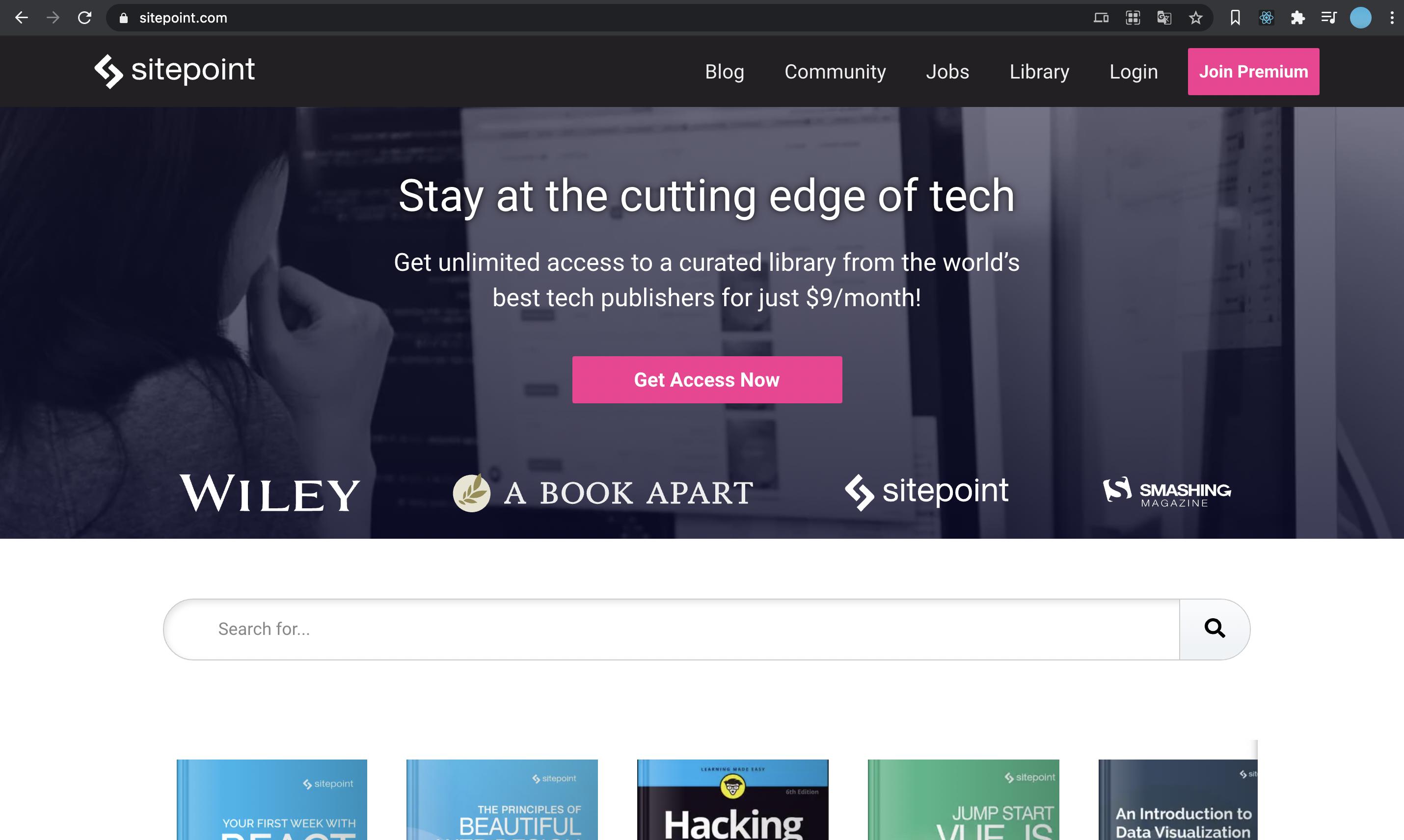 Sitepointのトップページ