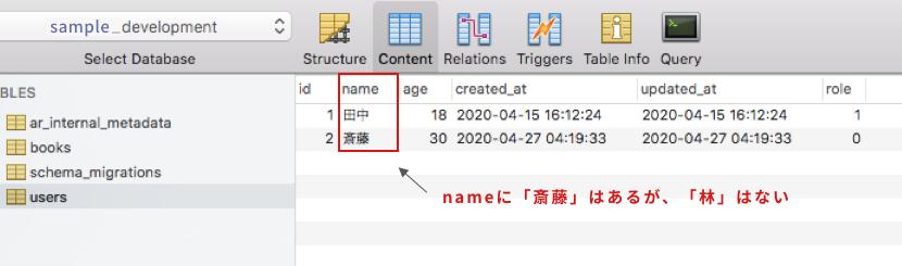usersテーブルのnameカラムの値を確認