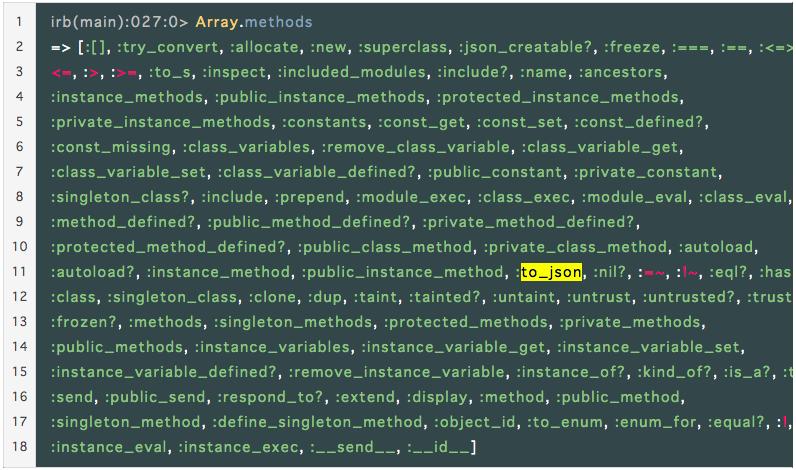 配列のto_jsonメソッドをmethodsで確認