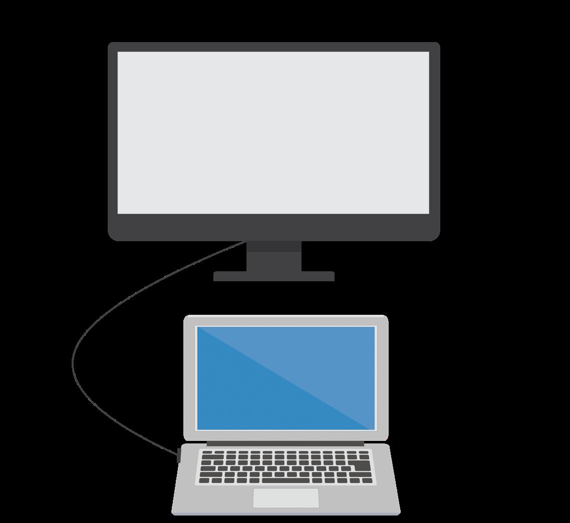 Macと外部ディスプレイを接続したイラスト