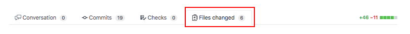Files changedを選択する
