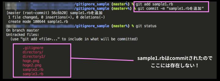 sample1.rbをcommitまで実行